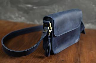 Сумочка Берті, Вінтажна шкіра, колір Синій, фото 3