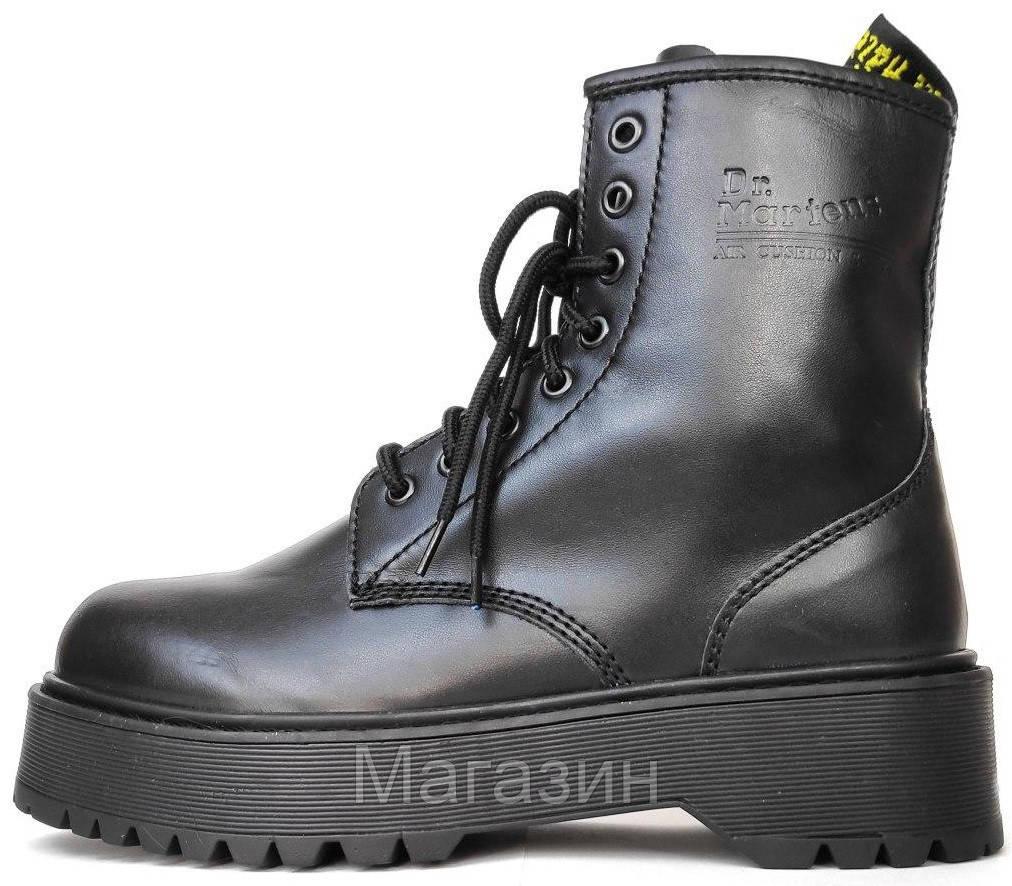 Женские ботинки Dr. Martens Jadon Boot Black Доктор Мартинс Жадон черные БЕЗ МЕХА