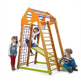 Детский спортивный деревянный уголок «BambinoWood»ТМ Sportbaby, размеры 1.7х0.85х1.32м