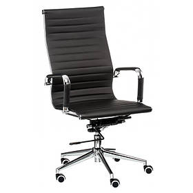 Офісне крісло Solano Special4You artleather black чорний кожзам сидіння хром-коліщата