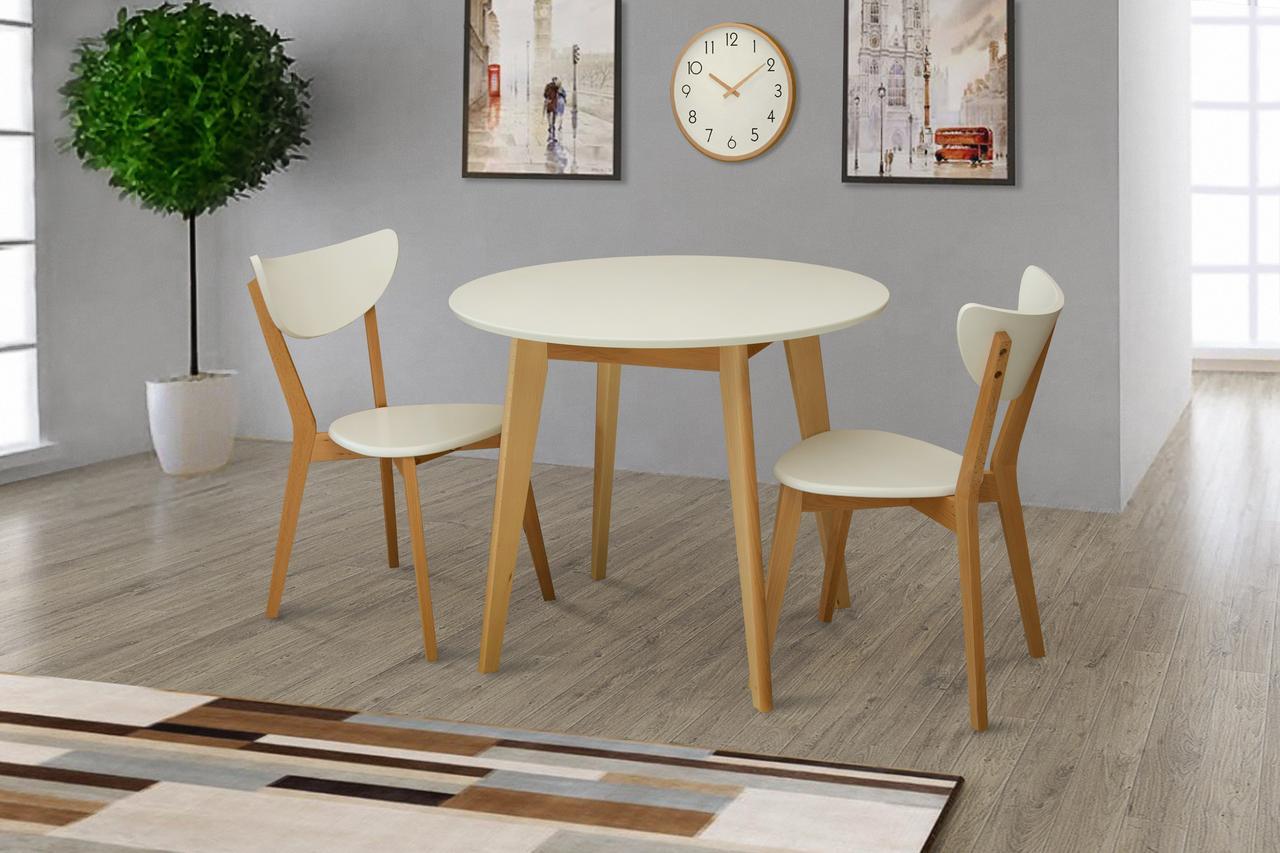 Стол обеденный круглый Модерн 90 см (белый/бук)