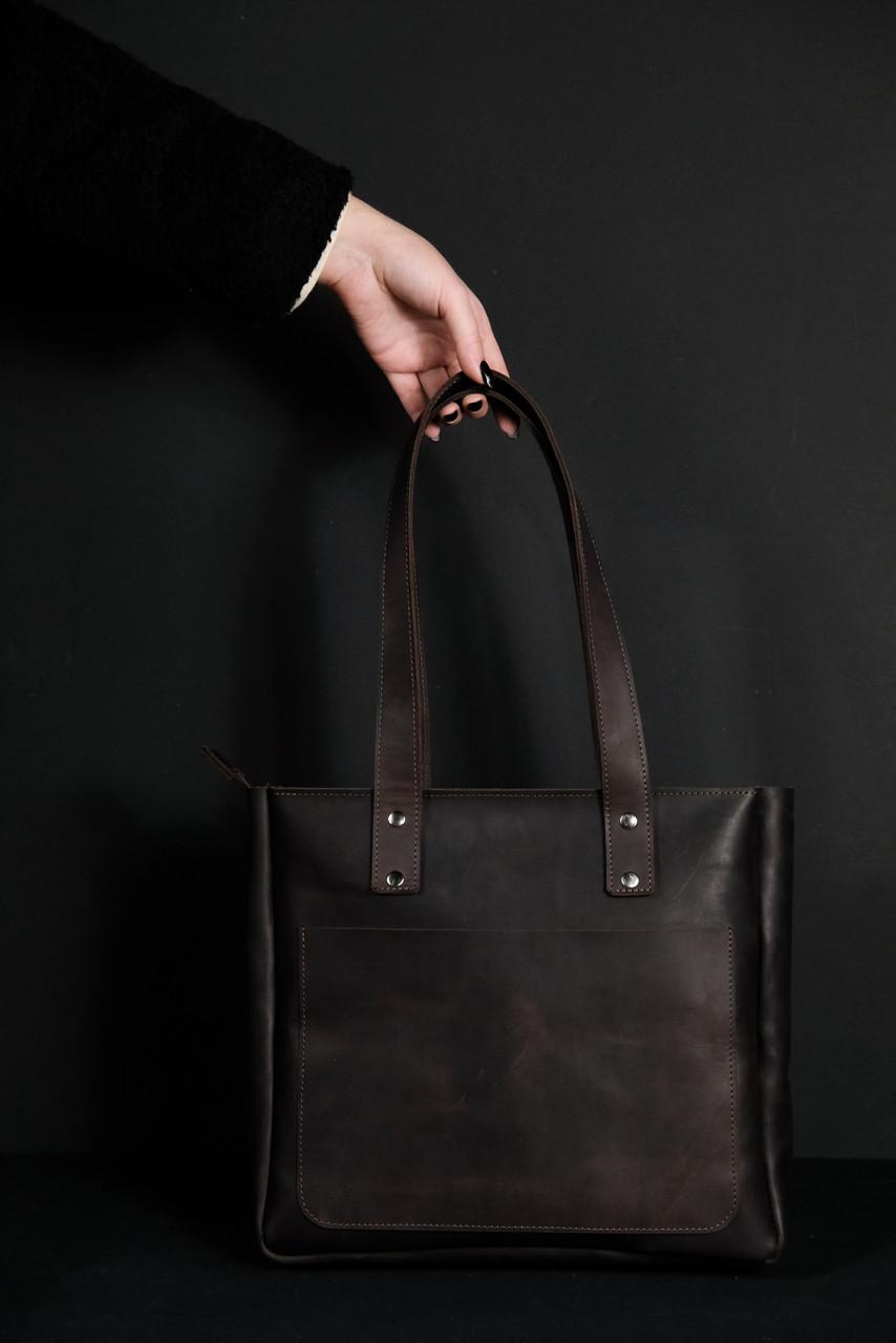 Велика жіноча сумка з натуральної шкіри