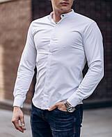Рубашка мужская хлопковая Snow белая   приталенная классическая ЛЮКС качества