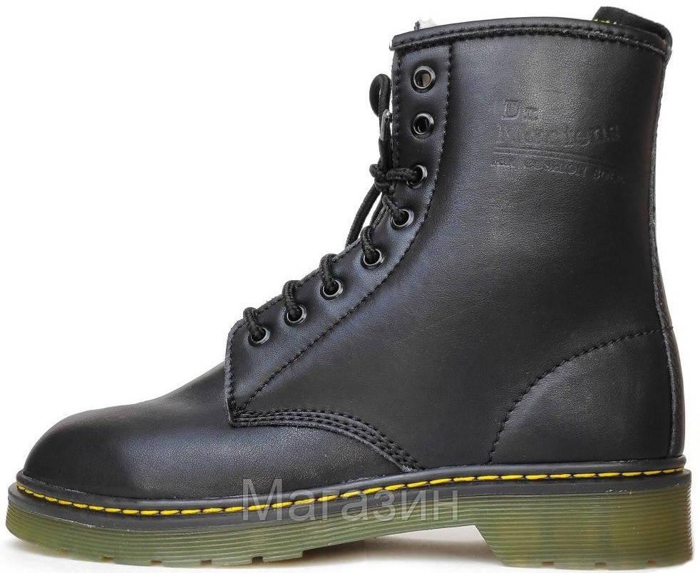 Женские зимние ботинки Dr. Martens 1460 Black Winter Fur  Доктор Мартинс 1460 С МЕХОМ черные