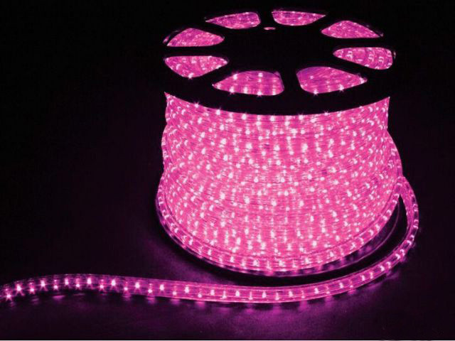 Гирлянда Дюралайт LED розовая 10 метров с контроллером