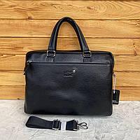 Мужской кожаный вместительный портфель для документов Mont Blanc Мон Блан реплика