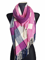 Теплый шарф Мелани клетка 180*70 см розовый, фото 1