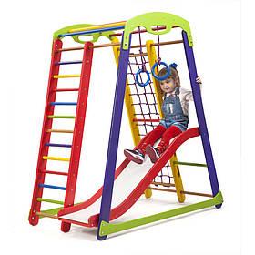 Дитячий спортивний дерев'яний куточок «Кроха - 1 Plus 1»  ТМ Sportbaby, розміри 1.5х0.85х1.32м