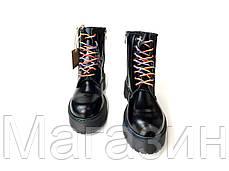 Зимние женские ботинки Dr. Martens Jadon Boot Black на меху Доктор Мартинс Жадон черные С МЕХОМ, фото 3