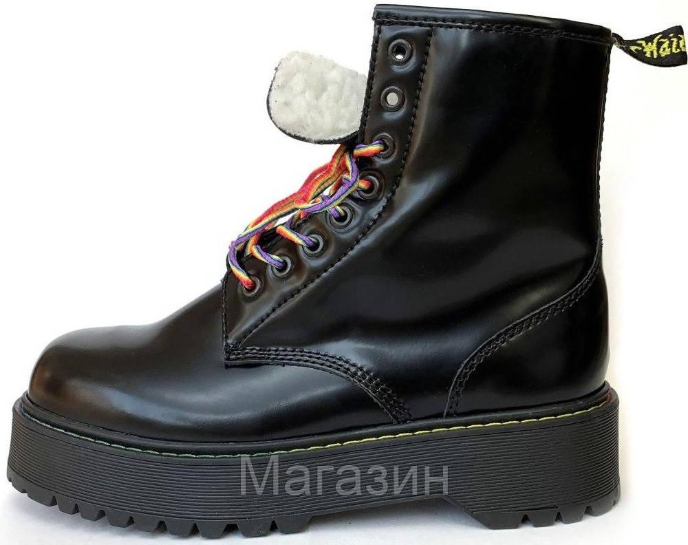Зимние женские ботинки Dr. Martens Jadon Boot Black на меху Доктор Мартинс Жадон черные С МЕХОМ