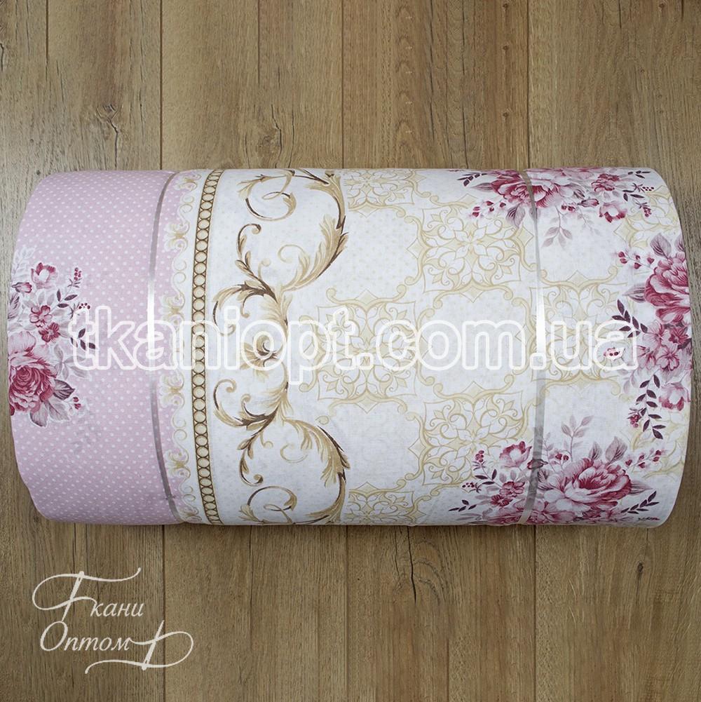 Ткань Ранфорс хлопок Турция - tracery розовый 116431