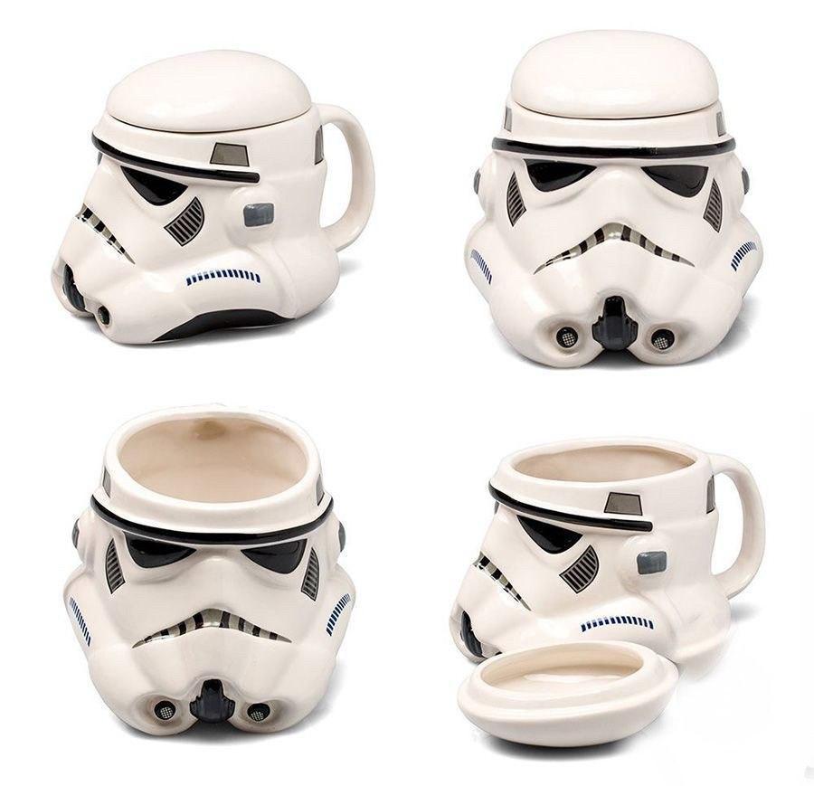 Чашка Кружка с крышкой Star Wars 3D  Штурмовик (Белая) Керамика