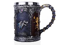 Кружка Чашка Бокал 3D  Нержавеющая Сталь Игра Престолов Game Of Thrones Winter Coming, фото 1