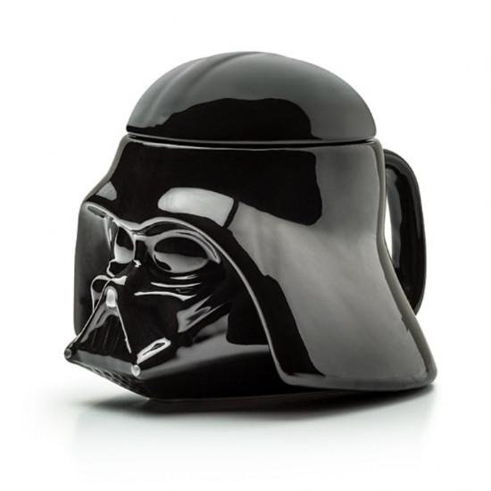 Кружка Чашка с крышкой Star Wars Дарт Вейдер Star Wars 3D  (Черная) Керамика