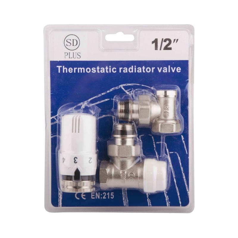 """Комплект термостатичний SD Plus 1/2"""" для радиатора угловой"""