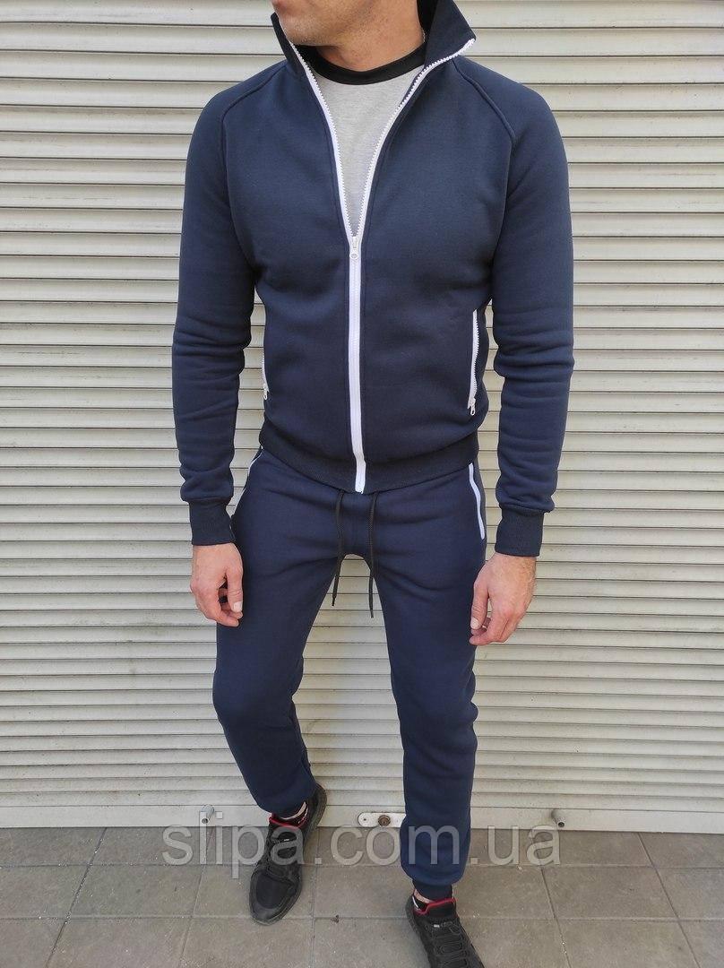 Чоловічий утеплений спортивний костюм без капюшона темно-синього кольору