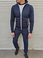 Чоловічий утеплений спортивний костюм без капюшона темно-синього кольору, фото 1