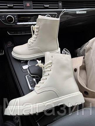 Женские зимние ботинки Dr. Martens 1460 White Доктор Мартинс без меха белые Мартинсы, фото 2