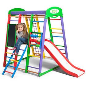 Дитячий спортивний дерев'яний куточок «Акварелька Plus 3»ТМ Sportbaby, розміри 1.5х1.24х1.32м