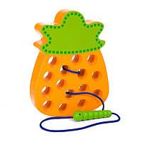 Деревянная игрушка Шнуровка MD 1228 (Ананас) Развивающие игрушки для детей