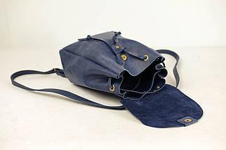 Кожаный рюкзак на затяжках с магнитом, размер средний Винтажная кожа цвет Синий, фото 3