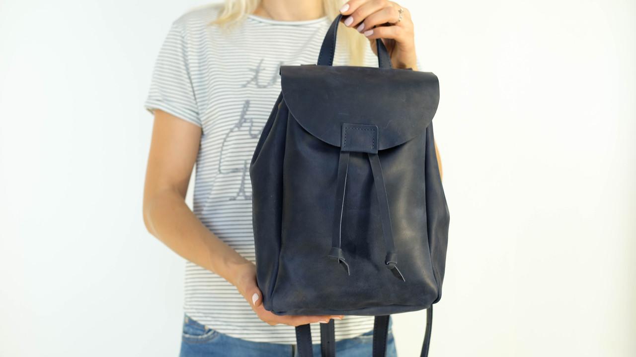 Кожаный рюкзак на затяжках с магнитом, размер средний Винтажная кожа цвет Синий