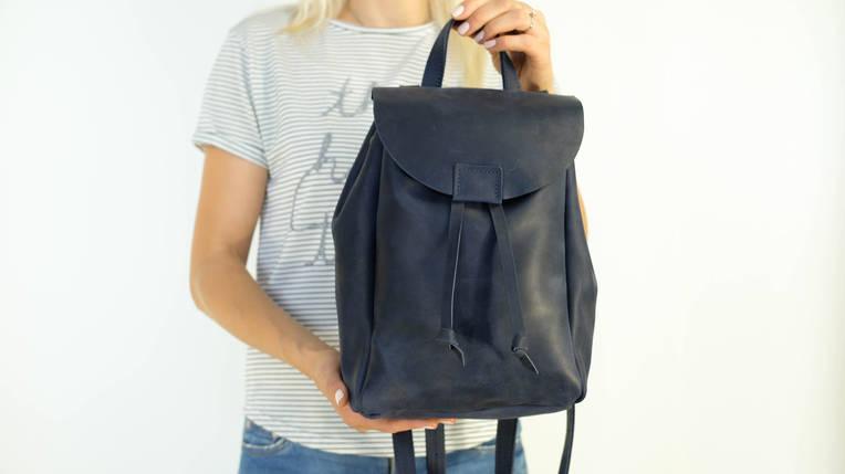 Кожаный рюкзак на затяжках с магнитом, размер средний Винтажная кожа цвет Синий, фото 2