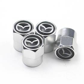 Захисні металеві ковпачки Primo на ніпель, золотник автомобільних коліс з логотипом Mazda - Silver