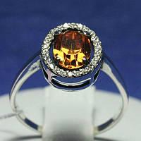 Серебряное кольцо с цирконием коньячным 11095кон, фото 1
