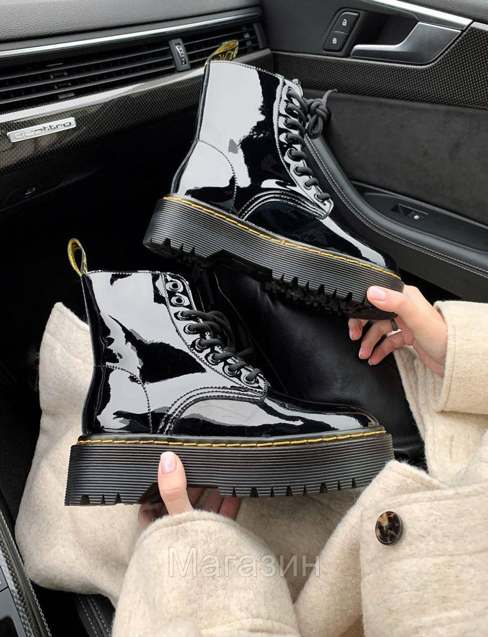 Зимние женские ботинки Dr. Martens Jadon Boot Patent Black без меха Доктор Мартинс Жадон черные без меха