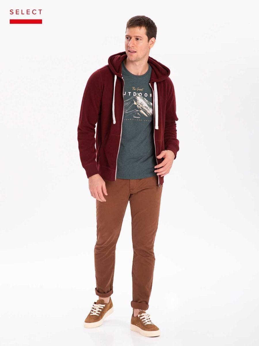 Мужской худи Volcano B-Star бордового цвета с капюшонм