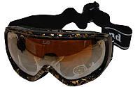 Очки горнолыжные LG7123 (акрил,пластик,PL,двойные линзы,антифог,цвет линз-оранж,оправа корич)