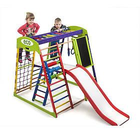 Дитячий спортивний дерев'яний куточок «ЮнгаPlus 3»  ТМ Sportbaby, розміри 1.3х1.24х1.32м