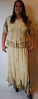 Костюм женский (блузка с юбкой) светло-горчичный, на 48-50 размеры