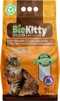 Бентонитовый наполнитель для котов BioKitty лаванда, 5 литров