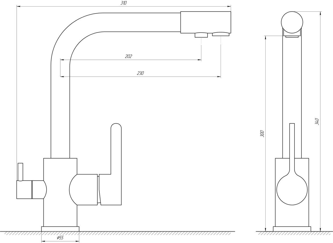 Смеситель для кухни под осмос Globus Lux GLLR-0444-7-WHITE