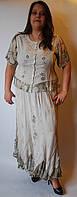 Костюм женский (блузка с юбкой) бежевый, 48-50 размеры
