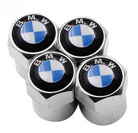 Захисні металеві ковпачки Primo на ніпель, золотник автомобільних коліс з логотипом BMW - Silver