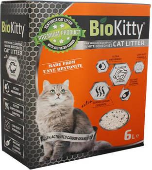 Бентонитовый наполнитель для котов BioKitty с углем, 6 литров