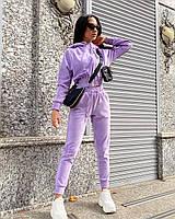 Женский стильный костюм из велюра укороченный худи с капюшоном и свободные станы на манжетаж