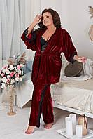 Шикарный  костюм для дома со штанами и халатом больших размеров (топ, штаны ,халат), фото 1