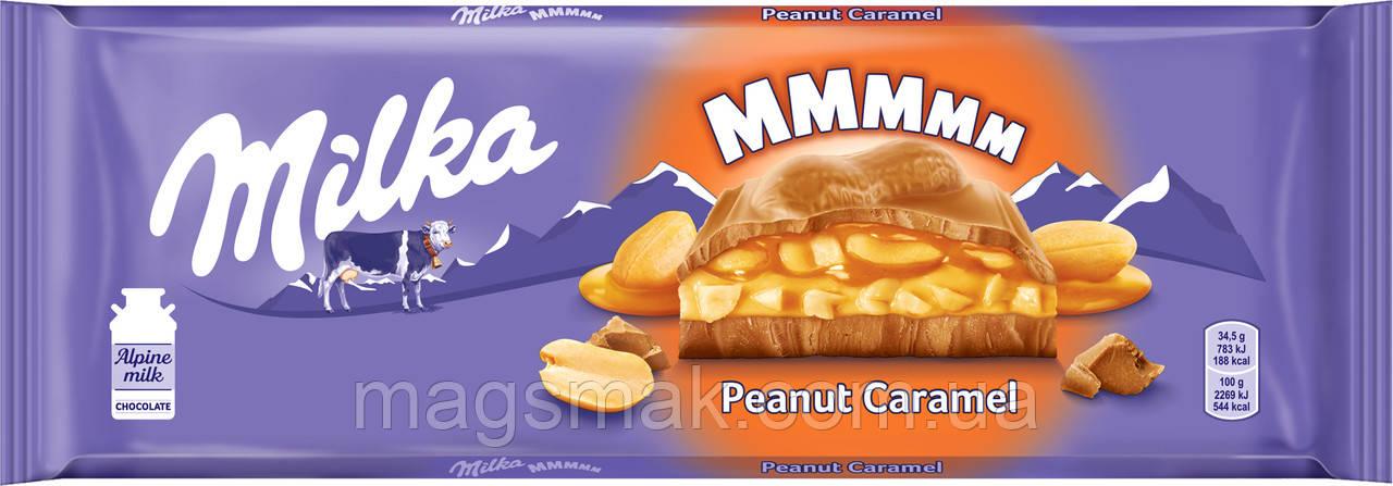 Шоколад Milka з арахісом і карамеллю, 276г