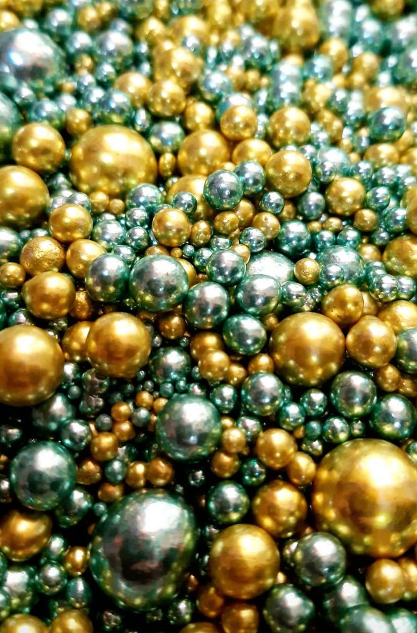 Посыпка кондитерская Шарики Зеркальные Микс 2-14 мм, зелёный,золотой