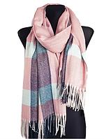 Теплый шарф Мелани клетка 180*70 см пудра, фото 1