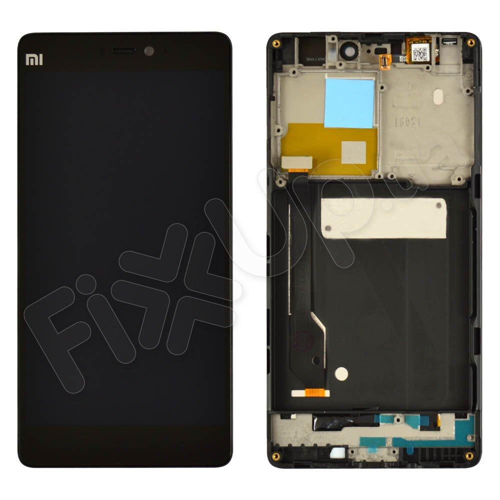 Дисплей для Xiaomi Mi4C с тачскрином и рамкой в сборе, цвет черный, копия высокого качества