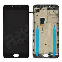 Дисплей для Meizu M3 Note (L681h) с тачскрином и рамкой в сборе, цвет черный, копия высокого качеств