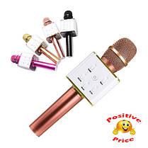 Мікрофон-колонка караоке безпровідна Q7 золотисто-рожевий, фото 3