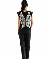 Черная пижама штаны+футболка крылья ангела.Пижамный легкий комплект