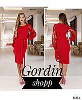 Шикарное нарядное платье с полупрозрачными кружевными рукавами красного цвета