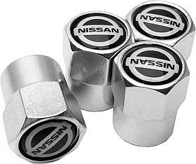 Захисні металеві ковпачки Primo на ніпель, золотник автомобільних коліс з логотипом Nissan - Silver